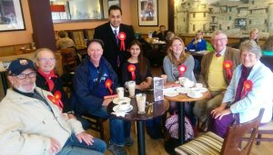 Enjoying a quick coffee after a morning's campaigning in Oadby with local activists