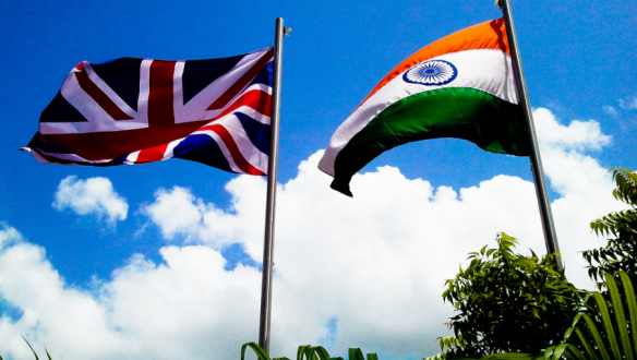 The flags of the United Kingdom and Republic of India