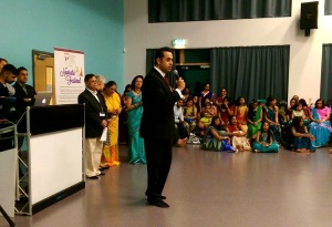 Attending Navratri celebrations hosted by the Oadby and Wigston Hindu Community