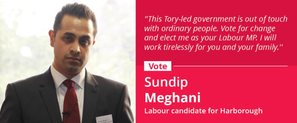 Vote for Sundip Meghani, Labour's candidate for Harborough, Oadby and Wigston