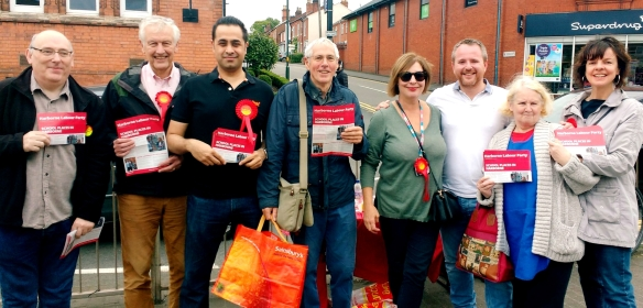 Harborne's Labour candidates Sundip Meghani and Jayne Francis with campaigners